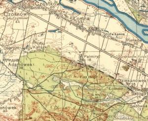 Palmiry i ich bezpośrednia okolica na przedwojennej mapie z roku 1934 (mapa z serwisu MAPSTER)